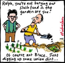 AWU Ralph Blewitt Bruce Wilson slush fund money hidden in backyard cartoon 2012-11-29