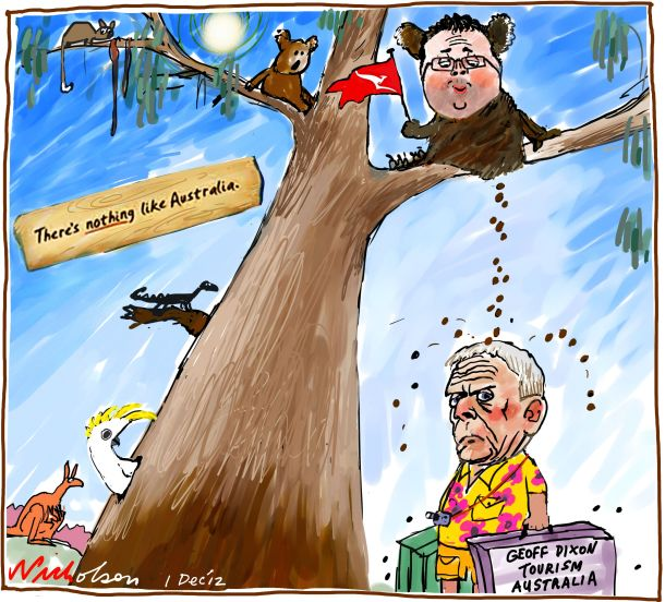 Geoff Dixon Tourism Alan Joyce Qantas Nothing like Australia koala poop business cartoon 2012-12-01