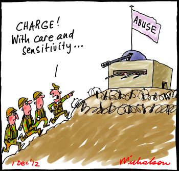 Roberts-Smith inquiry into abuse in Defence Department charge cartoon 2012-12-01