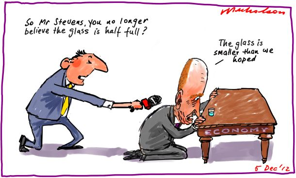 Reserve Bank Glenn Stevens more pessimistic on economy drops rates glass not so half full cartoon 2012-12-05
