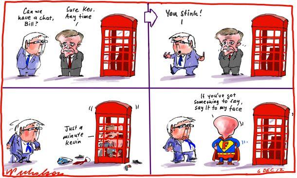 John Faulkner attacks faceless men factions Kevin Rudd slams Bill Shorten phone box cartoon 2012-12-06