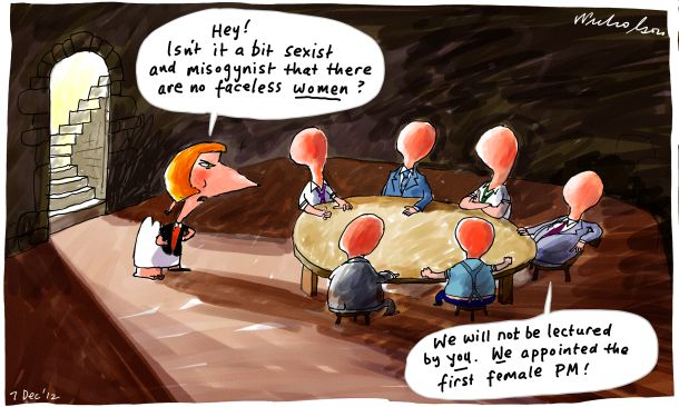 ALP factions back-room deals slammed Faceless women cartoon 2012-12-07