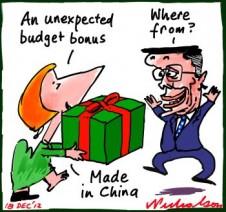 Christmas bonus for Swan budget and Gillard as China boon reignites cartoon 2012-12-18