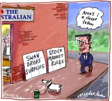 Wayne Swan dumps ideaof bugdet surplus market rises Business cartoon 2012-12-22