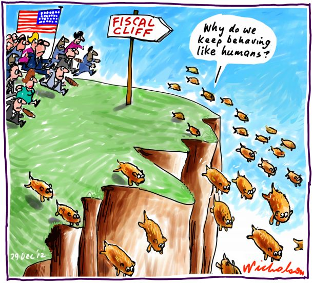 Fiscal Cliff looms. Lemmings like humans business cartoon 2012-12-29
