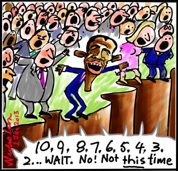 Obama Fiscal Cliff countdown cartoon 2013-01-02
