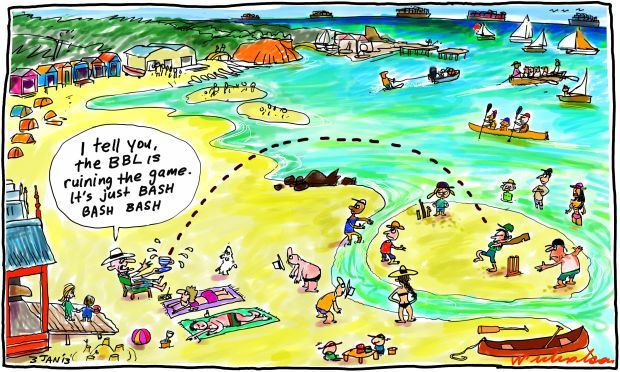 Beach criket cartoon Big Bash ruining cricket 2013-01-03