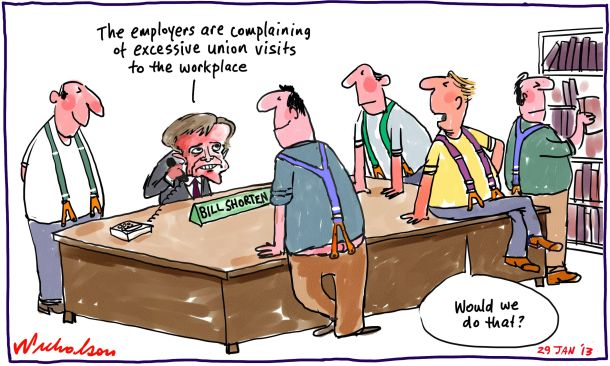 Bosses complain to Bill Shorten about excessive union visits to workplace FairWork cartoon 2013-01-29