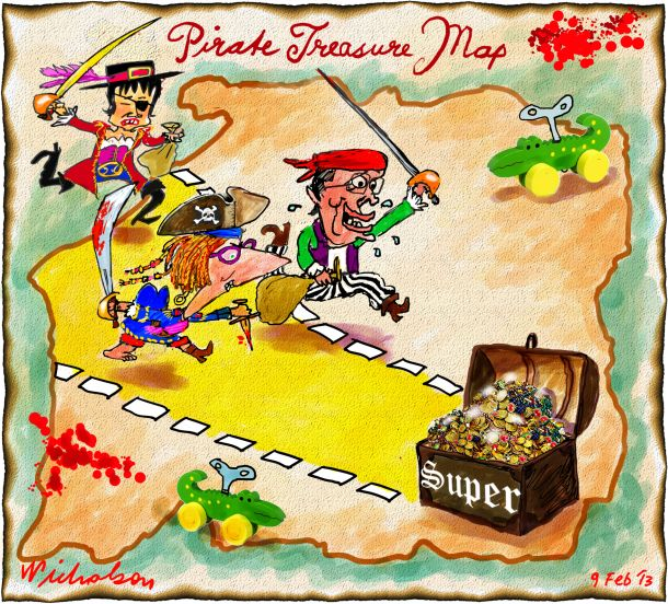 Pirate treasure map Swan Gillard to raid superannuation cartoon 2013-02-09