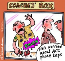 ACC phone taps on footballers re drugs sport cartoon 2013-02-14