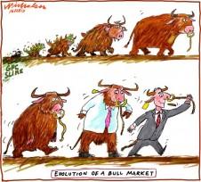 Evolution of bull market business cartoon 2013-02-16