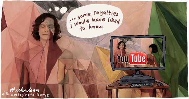 Gotye YouTube launch royalties conflict media cartoon 2013-02-18