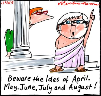 Kevin warns Julia beware Ides cartoon 2013-02-19