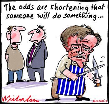 Odds Shorten on Bill leadership action Gillard cartoon 2013-02-20