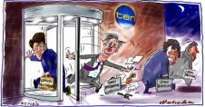 James Warburton moved on at Channel 10 revolving door Hamish McLennan in Media cartoon 2013-02-25
