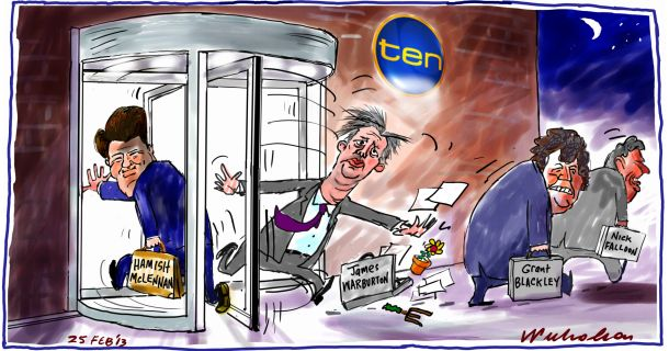 James Warburton moved on at Channel 10 revolving door Hamish McLennan in Media cartoon 2013-02-25