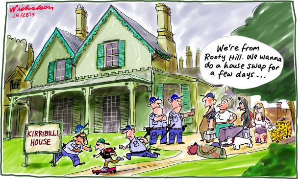 Rooty Hill Kirribilli house swap cartoon 2013-02-28