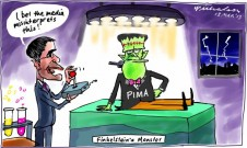 Finkelstein's monster Conroy at the controls PIMA media cartoon 2013-03-13