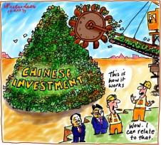 Chinese investment in Australia some people need convincing business cartoon 2013-03-16