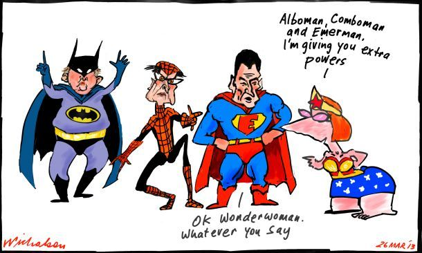 Gillard creates superministers Albanese Greg Combet and Craig Emerson cartoon 2013-03-26 corr610