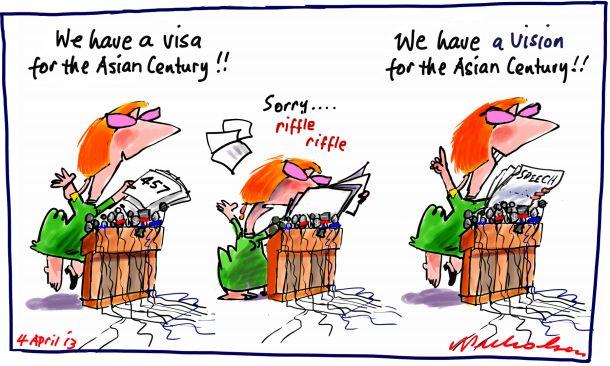 Julia Gillard 347 Visa vision for Asia Century cartoon 2013-04-04