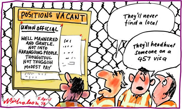Visas for union officials headhunt 347 visa cartoon 2013-04-05