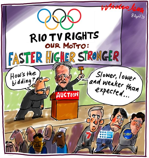 Rio Olympic TV rights go begging Channels 9 7 10 Media cartoon 2013-04-08