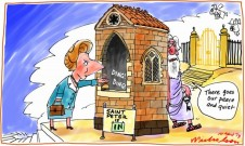 Margaret Thatcher at Pearly Gates cartoon 2013-04-10