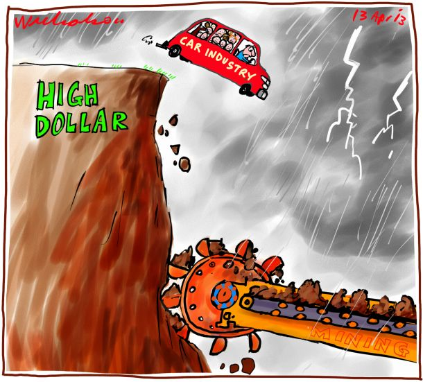 Car industry on skids with high dollar and mining growth Business cartoon 2013-04-13