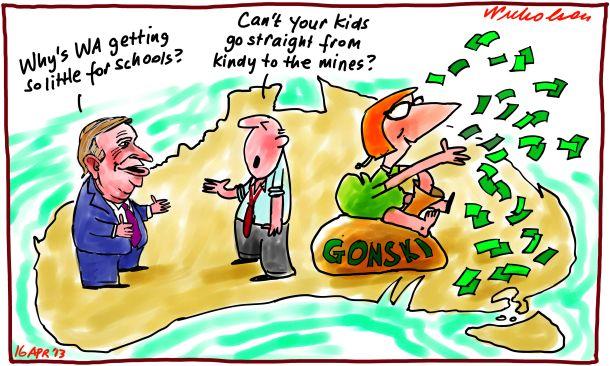 Gonski money small for WA Barnett Gillard cartoon 2013-04-16