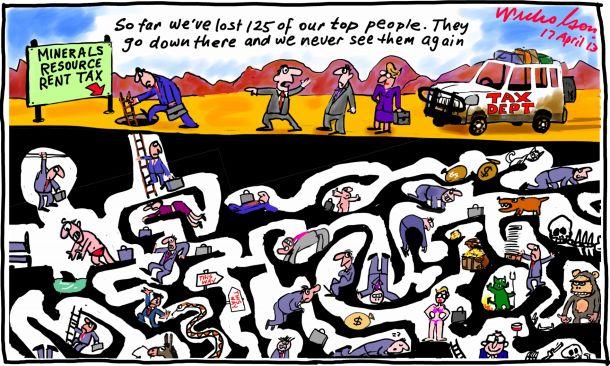MRRT Mining Resources Rent Tax experts stumped lost underground cartoon 2013-04-17