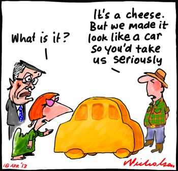 Car industry protection criticised by Anthony Pratt while we have a competitive advantage in agriculture cartoon 2013-04-18