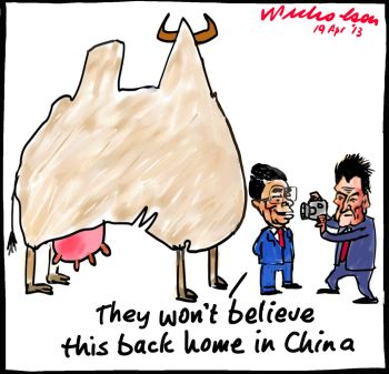 Chinese investment in Australian agriculture free trade agreement Craig Emerson cartoon 2013-04-19