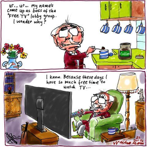 Howard mentioned for Free TV lobby Media cartoon 2013-04-22