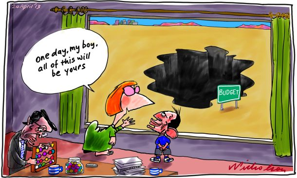 Structural budget deficit One day this will be your Julia Gillard Tony Abbott Wayne Swan budget cartoon 2013-04-24