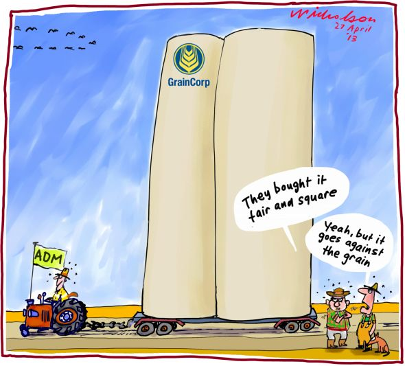 Graincorp to be taken over by ADM cartoon 2013-04-27