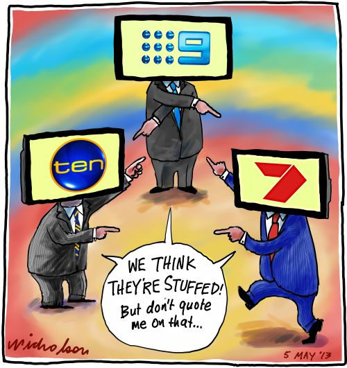 TV Channels slag off at each other Channel 9 7 10 Media cartoon 2013-05-06