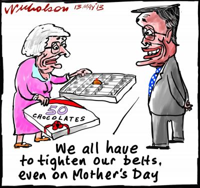 Wayne Swan belts tight budget mother chocolates cartoons 2013-05-13