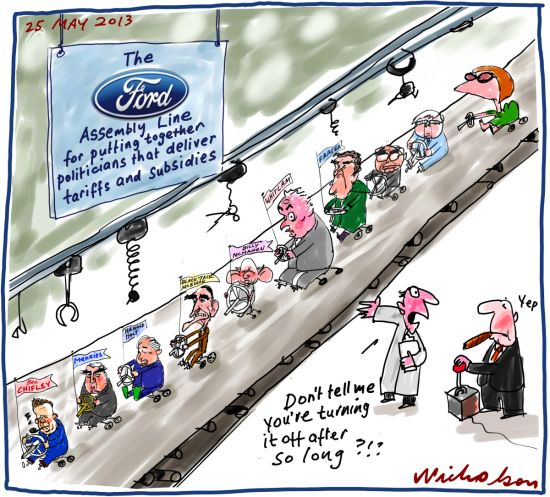 Ford to close factory subsidies pointless protectionsm Business cartoon 2013-05-25