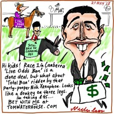Tom Waterhouse odds on Media reforms for gambling ads band live odds cartoon 2013-05-27