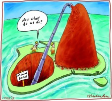 Mining boom over Iron ore surplus Business cartoon 2013-06-01