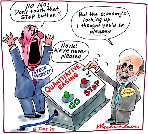 Ben Bernanke Quantitative Easing stock market cartoon 2013-06-08