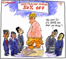 Chinese getting fussy about buying Aussie mines. 80 per cent off Business cartoon 2013-07-06