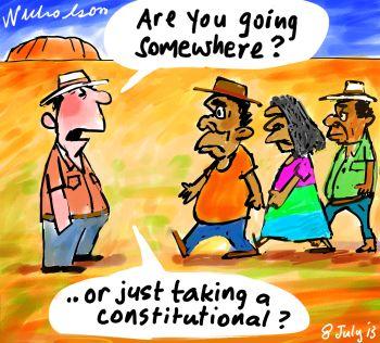 Recognition referendum march aborigines cartoon 2013-07-08