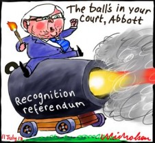 Ball in Abbott's court on aborigines recognition referendum cannon Rudd cartoon 2013-07-11