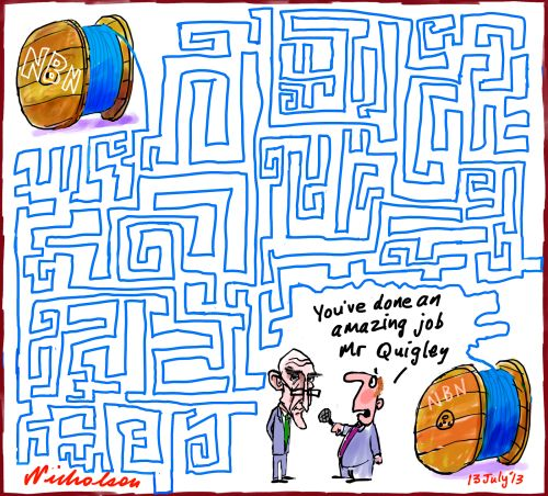 Quigley leaves NBN amazing maze cartoon 2013-07-13