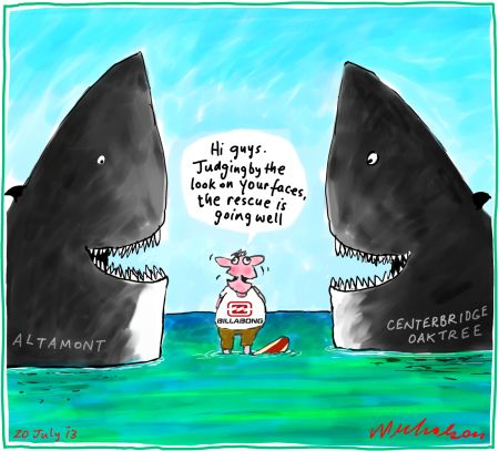 Billabong rescue with Altamont and Oaktree/Centerbridge sharks cartoon 2013-07-20