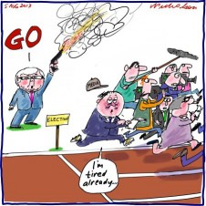 Rudd gives the go for election tired already Media cartoon 2013-08-04