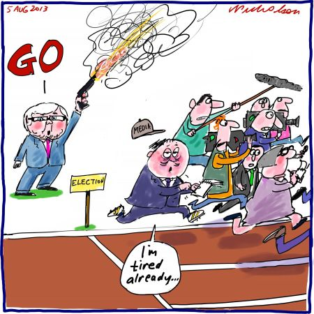 Rudd gives the go for election tired already Media cartoon 2013-08-04