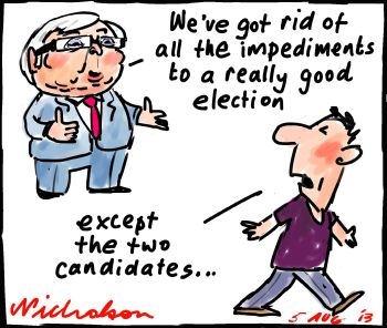 Rudd gets rid of all impediments to election except protagonists p1 cartoon 2013-08-05